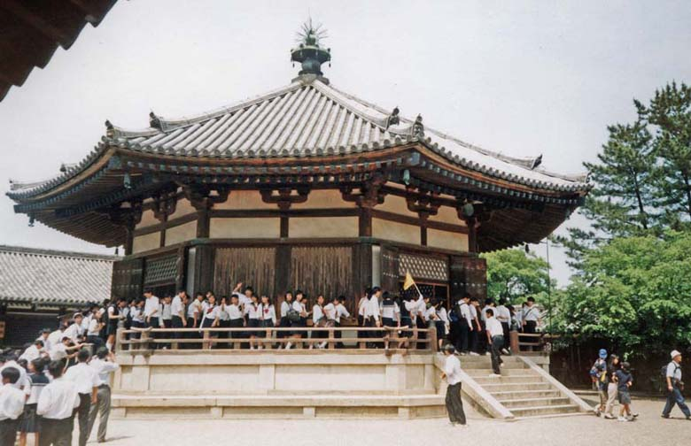 """NARA: The Hall of Visions at the Yaakushiji Temple Complex, containing an ancient """"hidden statue"""" of Shotoko Taichi as an emanation of Kannon, shown only one day a year (no . . . not this day).. May 21, 1998"""