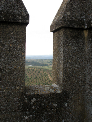 ALMODVAR DEL RIO: View of the countryside from between the crenelations of the castle walls.