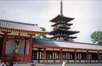 NARA: In the neighboring nunnery complex is the Chugu-ji, originally situated a mile east in Ikaruga, built as part of the palace of the Empress Anahobe no Hashibito, mother of Prince Shotoku.