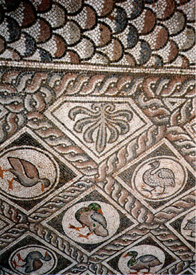 DELPHI: Detail of a Roman-era mosaic in the courtyard outside the Delphi Museum