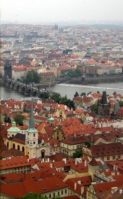 PRAGUE: From the bell tower of St. Vitus Church. In the center, the Charles Bridge, and beyond, Nove Mesto.