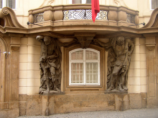 PRAGUE: The many blocks of beautiful Art Nouveau architecture in Prague were a delight; but of the dozens of photos we took of such buildings, this is the only one that made it home, showing two heavily burdened men holding up a balcony.