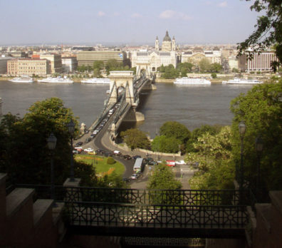 BUDAPEST: Shot from the furnicular railway tram that lifts passengers up Castle Hill. We walked across the Lanc hid (Chain Bridge) from Pest to Buda.