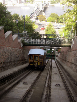 BUDAPEST: This tram hauls visitors up the steep incline from the banks of the Danube to the top of Castile Hill in Buda. In the background, the Chain Bridge