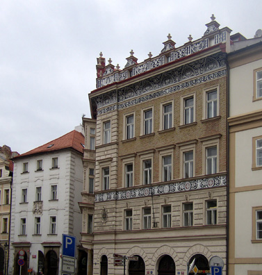 PRAGUE: Another ornate building decorated in a quite different style.