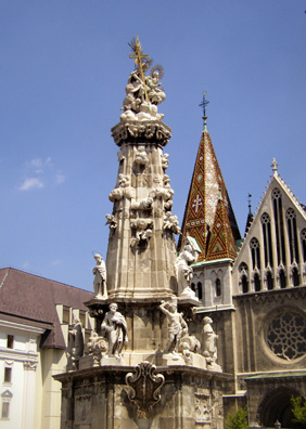BUDAPEST: This monument is located just in front of the Matthias Church. Note the typically Hungarian polychrome tile roof on the church spire.