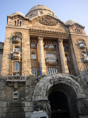 BUDAPEST: Around to the right is the entrance to the famous Gellert Baths. Note the ornate Art Nouveau decor.
