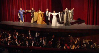 PRAGUE: The cast of Vanda taking a bow. Note the overwhelmingly male orchestra. In Vienna we had seen Don Giovanni conducted at the Volksoper by a woman, but gender equality hadn't penetrated here yet.