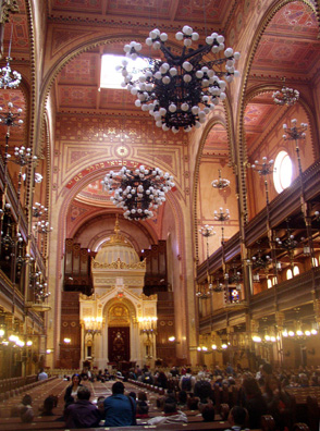 "BUDAPEST: Interior of the synagogue. We were moved to read in the guestbook here, written in French: ""Mother and Father--exiled. I came."""
