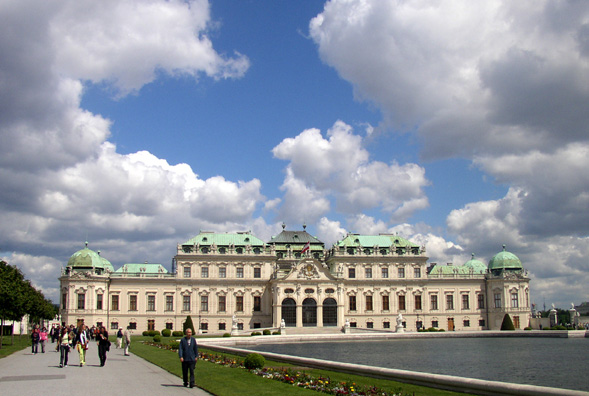 VIENNA: This part of the Schloss Belvedere was built 1721-1723 by Johann Lukas von Hildebrant for Prince Eugene of Savoy. Now home of the Austrian Gallery.