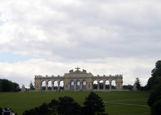 VIENNA: The Gloriette on the hill behind the Palace exists mainly to provide views--of the Palace. Today it overlooks a popular concert venue in the rear gardens.