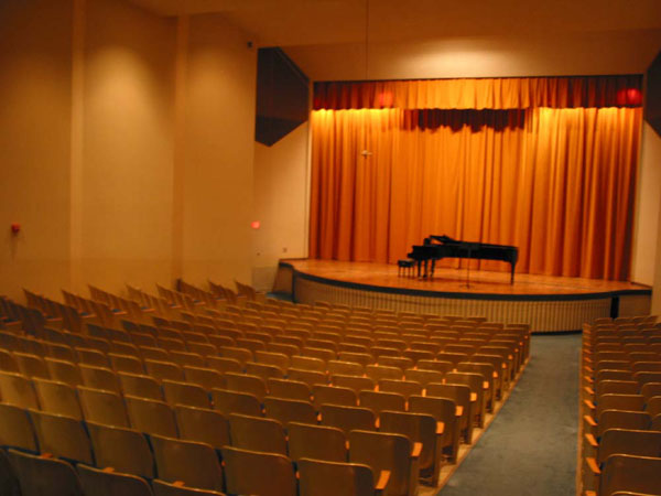 Kimbrough Concert Hall Stage with Main Curtain closed and Elevator Lift up