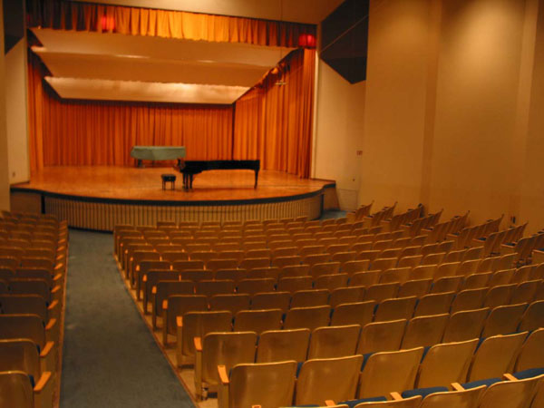Kimbrough Concert Hall Stage with Main Curtain open and Elevator Lift up