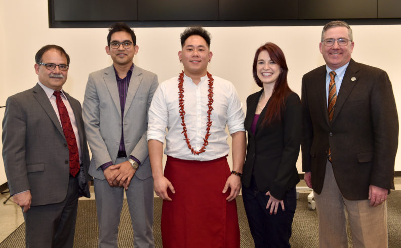 Provost Dan Bernardo and president Kirk Schulz with 2018 Three Minute Thesis finalists Mahamudul Haque, Jeremiah Sataraka and Naomi Wallace.