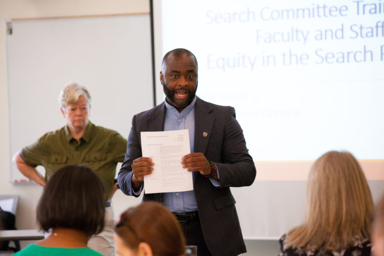 Obie Ford III presenting to faculty