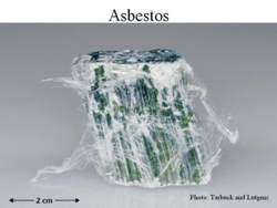 This asbestos shows filaments separating from its surface
