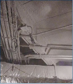 ACM fireproofing was sprayed on the ceiling