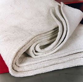 This fire blanket is made from woven asbestos fibers