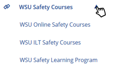 Select WSU Safety Courses dropdown