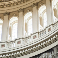 A detailed interior view of the US Capitol Building dome Washington DC