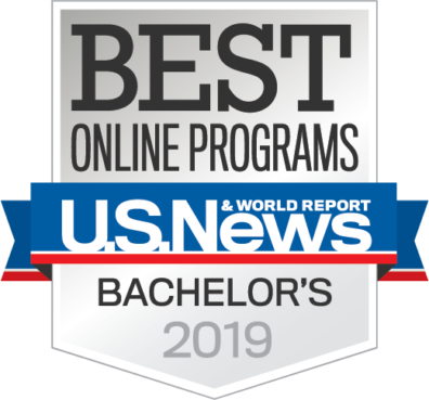 Logo: US News and World Report Best Online Programs Bachelor's 2019.