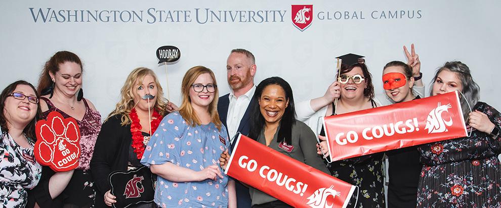 Photo: WSU Global Campus students celebrate graduation.