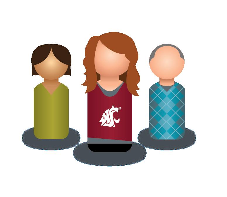 Graphic: Three peg person icons.