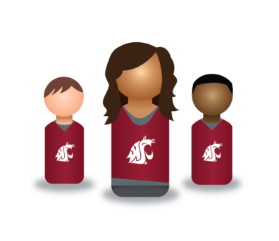 Graphic: Three peg person icons in crimson cougar shirts.