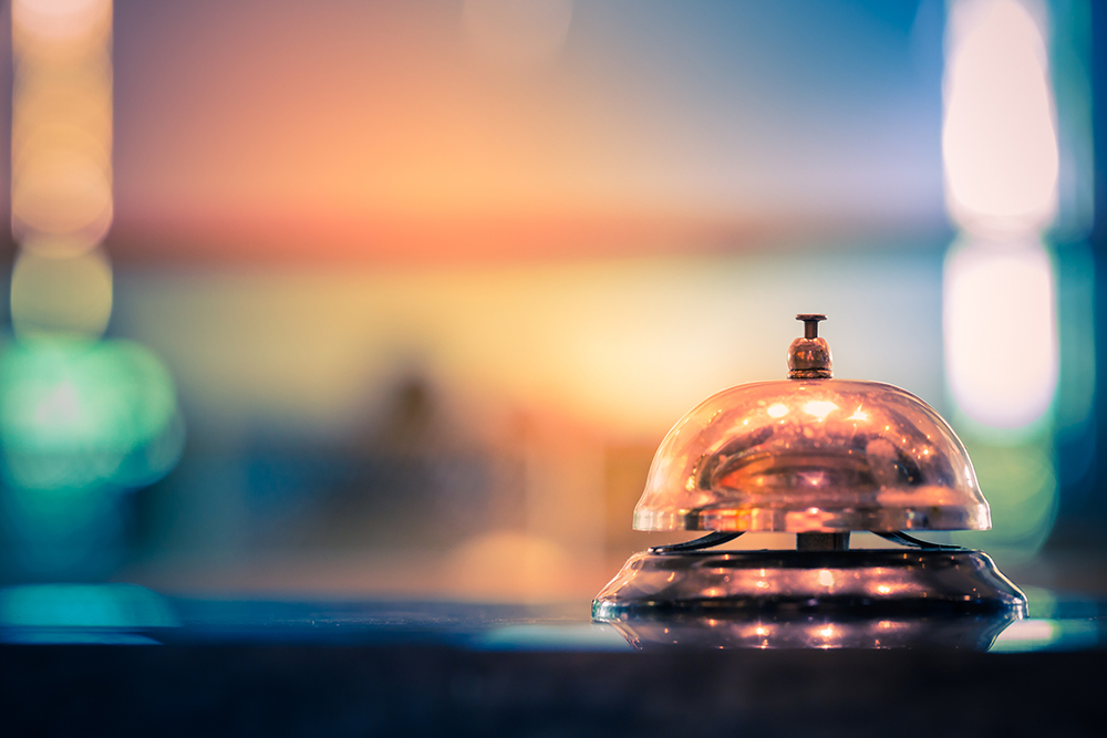Photo: Restaurant service bell vintage with bokeh.