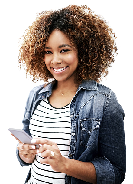 Photo: Smiling young woman holding a smart phone.