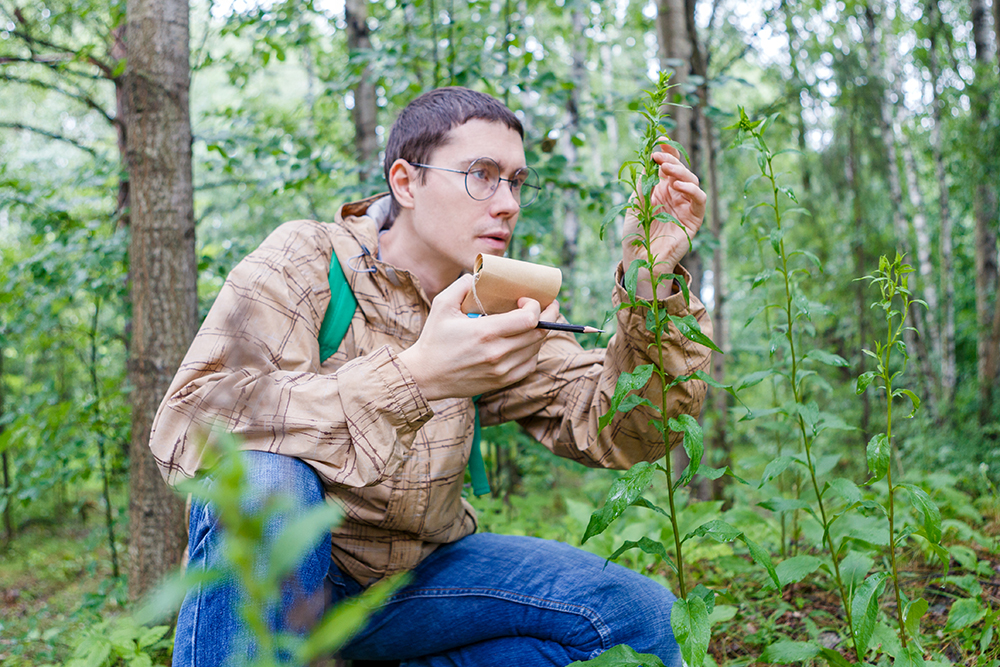 Photo: Man with notebook and pencil studying plant in forest in summer afternoon