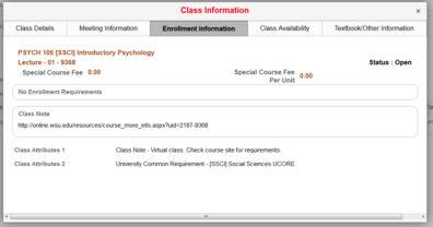 Screenshot: Class enrollment information.