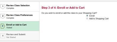 Screenshot: Step 3 of 4 Enroll or Add to Cart.