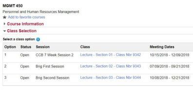 Screenshot: Sample course information, class options.