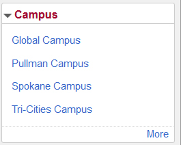 Screenshot: Campus name and options available.