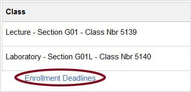 Screenshot: Class enrollment deadlines.
