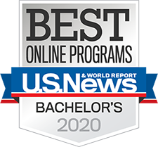 Logo: US News and World Report Best Online Programs Bachelor's 2020.
