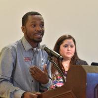 Amir Gilmore speaking, WSU Orientation
