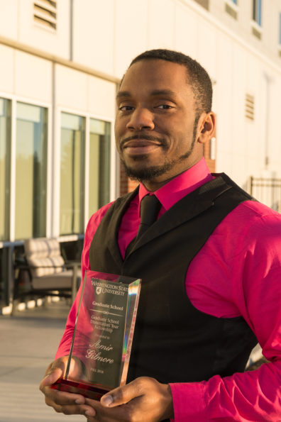 Amir Gilmore with his award