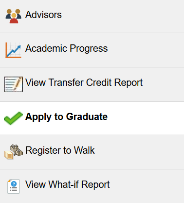 "screenshot with ""apply to graduate"" highlighted"