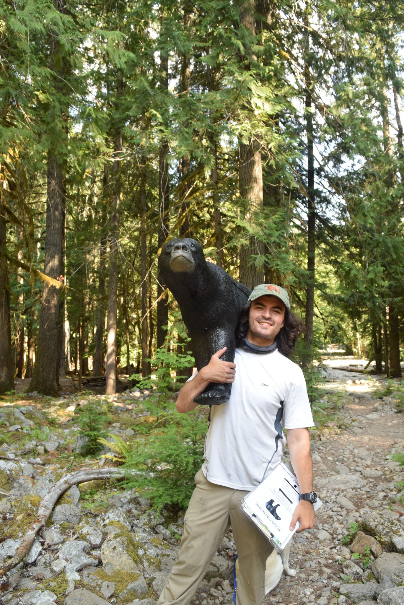 Cullen Anderson with Bear Decoy at North Cascades National Park