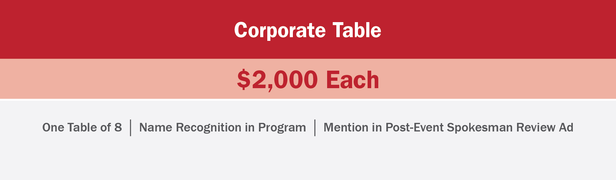 Corporate table sponsors