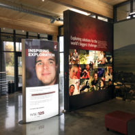 Backlit and mural displays at the visitor center