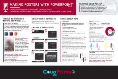 graphic of a poster explaining how to make a poster in PowerPoint