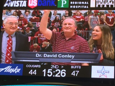 David Conley is shown on the video screen at Beasley Coliseum on Jan. 23.