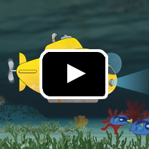 cartoon submarine in background, video play button in foreground