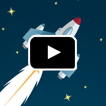 cartoon rocket in background, video play button in foreground