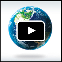 Earth's globe in background, video play button in foreground