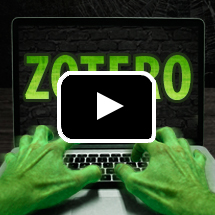 zombie's green hands on keyboard, screen says Zotero, in background, video play button in foreground