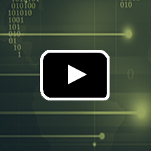 dark green texture with binary numbers and lighter lines  in background, video play button in foreground